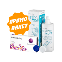 Avaira Vitality - 2 броя + разтвор Options Multi 360 ml